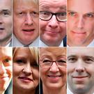 Eye on the prize: (top L-R) Foreign Secretary Jeremy Hunt, former foreign secretary Boris Johnson, Environment Secretary Michael Gove, former Brexit secretary Dominic Raab, (bottom L-R) International Development Secretary Rory Stewart, former works and pensions secretary Esther McVey, former leader of the House of Commons Andrea Leadsom, and Health and Social Care Secretary Matt Hancock. Photo: STF/AFP/Getty Images