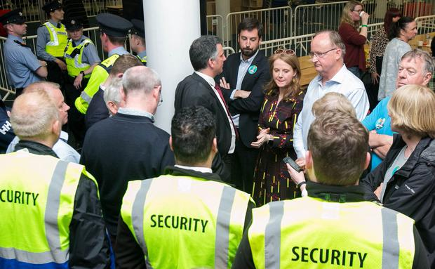 Facing flak: Eoghan Murphy and Catherine Noone at the local election count in the RDS, Dublin, yesterday. Photo: Gareth Chaney, Collins