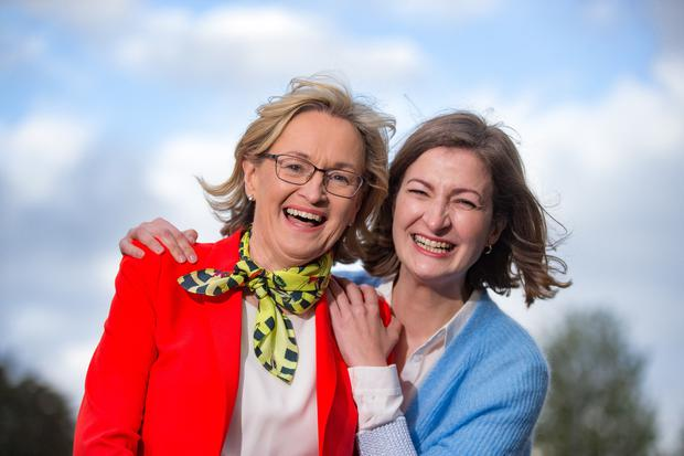 MEP Mairead McGuinness with her friend Deirdre O'Hea at the Castlebar count centre for the Midlands-Northwest. Pic:Mark Condren