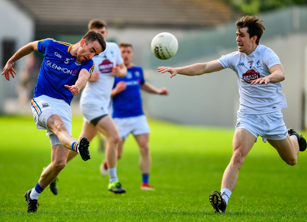 Colm P. Smyth of Longford in action against Mark Dempsey of Kildare. Photo by Ray McManus/Sportsfile