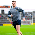 Injured Galway star Joe Canning going through is paces on the pitch prior to the clash with Wexford. Photo by Stephen McCarthy/Sportsfile