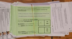 A Yes vote on a ballot paper in Ireland's divorce referendum at the RDS in Dublin. Although there was relatively little debate around the Divorce Referendum in the build up to last week's vote, the public gave massive backing to constitutional change. Photo: PA
