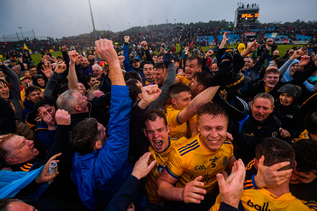 PURE JOY: Roscommon players and supporters. Photo by Stephen McCarthy/Sportsfile