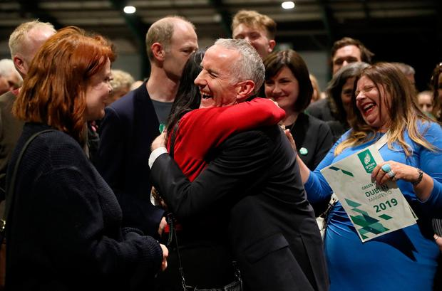Poll position: Green Party candidate Ciarán Cuffe reacts to the first count in the RDS. Photo: Brian Lawless/PA Wire