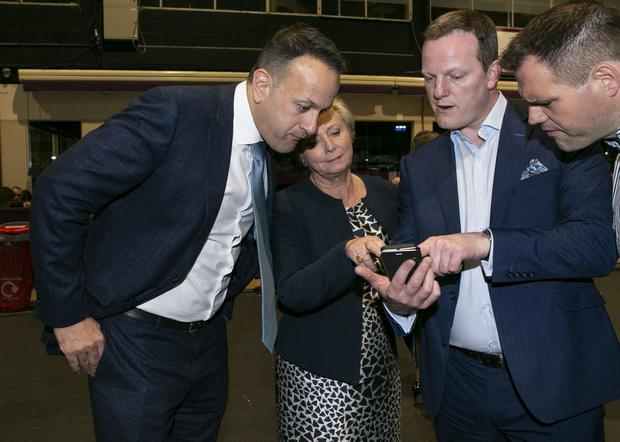 An Taoiseach Leo Varadkar pictured with Frances Fitzgerald TD and Alan Farrell TD at the count centre in the RDS. Photo: Kyran O'Brien