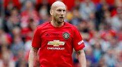 Manchester United's Jaap Stam in action during the Treble Reunion Match. Photo: Reuters/Ed Sykes