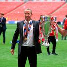 Charlton Athletic manager Lee Bowyer (left) and player Patrick Bauer with the Sky Bet League One Play-off Trophy. Photo: Mike Egerton/PA Wire