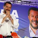Italian Interior Minister and Deputy Premier Matteo Salvini, of the League arrives to meet reporters during a press conference at the League headquarters in Milan, Italy, early Monday morning, May 27, 2019. (AP Photo/Antonio Calanni)