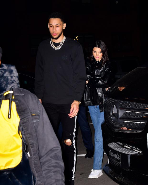 Ben Simmons and Kendall Jenner arrive to Marquee New York on February 14, 2019 in New York City. (Photo by James Devaney/GC Images)