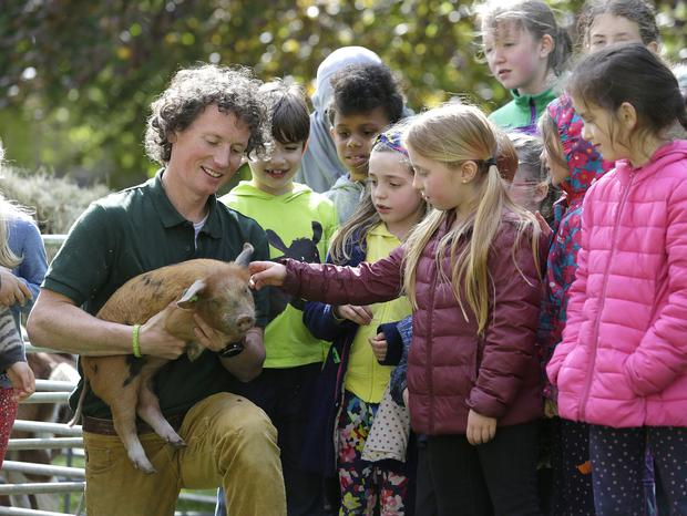 3/5/2019, Farmer, Eoin Sharkey, from Maperath Farm shows a piglet to first class pupils, as he visited Canal way educate together national school in Dublin. Picture credit; Damien Eagers / INM