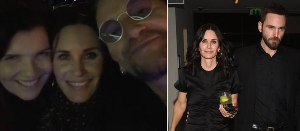 Courteney Cox with Ali Hewson and Bono, left, and with fiancé Johnny McDaid, right