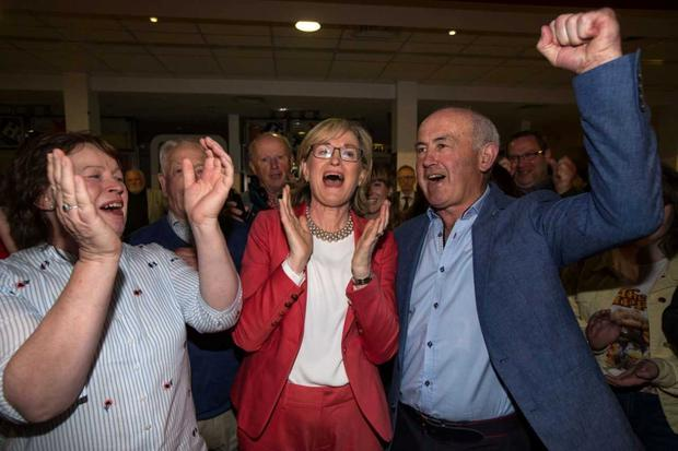 MEP Mairead McGuinness and her husband Tom celebrate after she was re-elected as an MEP at the Castlebar count centre for the Midlands-Northwest. Pic:Mark Condren 26.5.2019