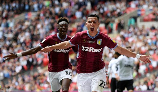 Soccer Football - Championship Playoff Final - Aston Villa v Derby County - Wembley Stadium, London, Britain - May 27, 2019 Aston Villa's Anwar El-Ghazi celebrates scoring their first goal with Tammy Abraham Action Images via Reuters/Tony O'Brien