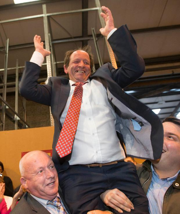 Portlaoise farmer Wilie Aird after he was re-elected. Photo: Alf Harvey