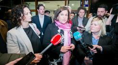 European candidate for Sinn Féin Lynn Boylan and Sinn Féin leader Mary Lou McDonald TD speaking to the media outside the European Election count in the RDS, Dublin. Photo: Gareth Chaney, Collins