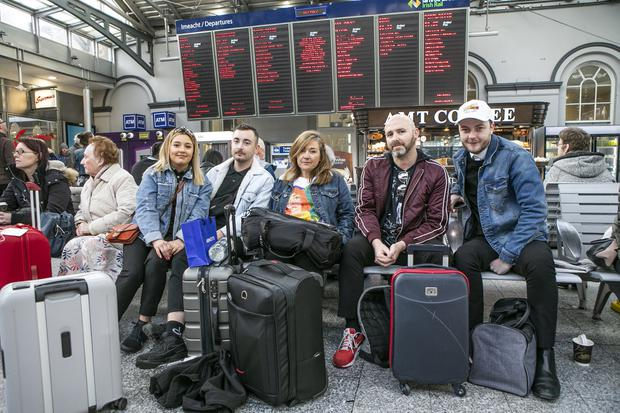 Niamh Mc Evoy, Eoin Joyce, Aisling Ryan, Leo Mason and Rob Boland who work for Marks & Spencer pictured in Heuston Station (Photo: Kyran O'Brien)