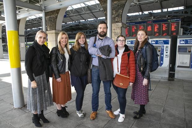 Yveanne Walshe, Cliona Kennelly, Constantina Tyrogalas, Niall Mullally, Aisling Toms and Eimear Casserly who work for Musgrave pictured in Heuston Station (Photo: Kyran O'Brien)
