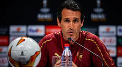 Arsenal boss Unai Emery during a press conference at The Olympic Stadium, Baku. Photo: UEFA via Getty Images/PA Wire