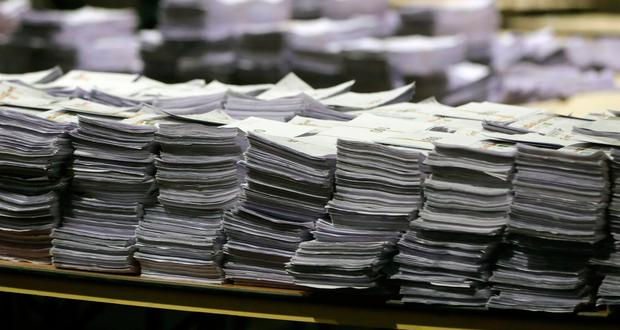 Stacks of ballot papers during the count of the Dublin Constituency for the European Parliamentary elections at the RDS in Dublin. Photo: PA