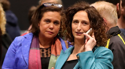 Eliminated: Lynn Boylan with Mary Lou McDonald (left). Picture: PA