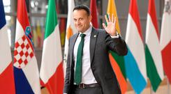 Handily placed: Leo Varadkar arrives for a European Union summit in Brussels. Photo: EMMANUEL DUNAND/AFP/Getty Images
