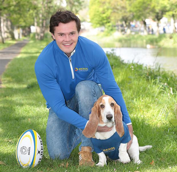 Ulster wing Jacob Stockdale at the launch of Maxol's ambassador programme with Walter, a basset hound from Munster. Photo: Brian McEvoy