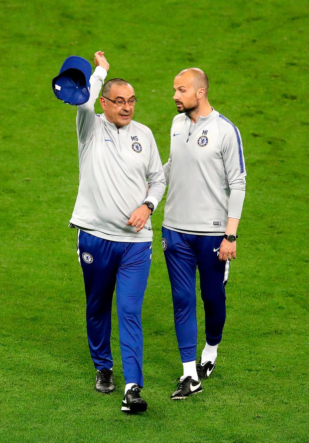 Chelsea manager Maurizio Sarri (left) and coach Marco Ianni (right) during the training session at The Olympic Stadium, Baku.
