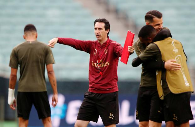 Arsenal manager Unai Emery is pictured during training in Baku. Photo: Reuters/Maxim Shemetov