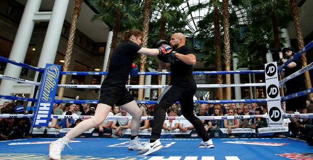 Katie Taylor is pictured during her work-out at Brookfield Place, New York. Photo: Reuters/Andrew Couldridge