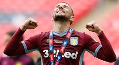 Aston Villa's Conor Hourihane celebrates after winning the playoffs. Action Images via Reuters/Ed Sykes