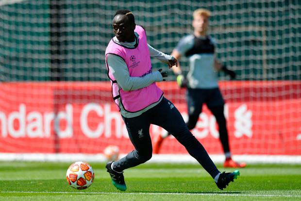 Liverpool striker Sadio Mane takes part in a training session at the Melwood training ground in Liverpool on Tuesday ahead of Saturday's Champion League final. Photo: Anthony Devlin/AFP