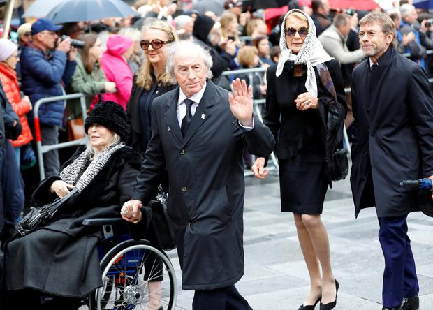 Former Formula One driver Jackie Stewart arrives to attend the funeral ceremony. Photo: Reuters/Leonhard Foeger