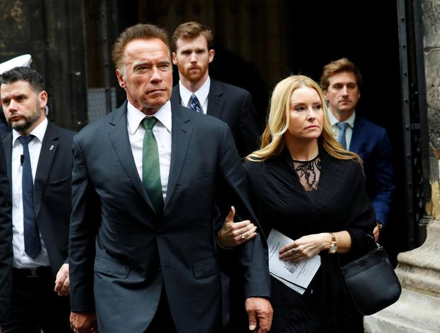Actor Arnold Schwarzenegger leaves the funeral ceremony. Photo: Reuters/Antonio Bronic