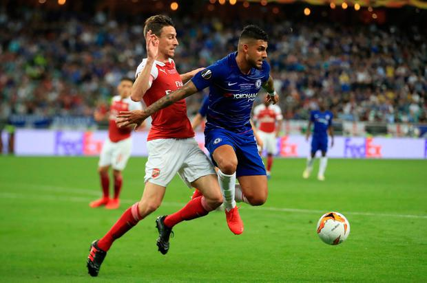 Arsenal's Laurent Koscielny and Chelsea's Emerson Palmieri (right) battle for the ball during the UEFA Europa League final at The Olympic Stadium, Baku, Azerbaijan. Bradley Collyer/PA Wire.