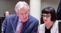 European Chief Negotiator for the UK exiting the European Union Michel Barnier (L) and the EU deputy chief negotiator for Brexit Sabine Weyand. Photo: Thierry Monasse/Getty Images