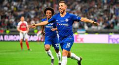 Final Act: Eden Hazard celebrates after scoring Chelsea's final goal in their 4-1 victory over Arsenal in last night's Europa League final in Baku. Photo by Michael Regan/Getty Images
