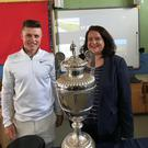 Excitement: Portmarnock's Conor Purcell with The R&A's Hannah Fleming on a recent visit to schools in the Malahide, Portmarnock and Donabate area to promote next month's Amateur Championship at The Island and Portmarnock.
