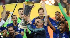 Chelsea manager Maurizio Sarri won his first major trophy as he lifted the Europa League trophy