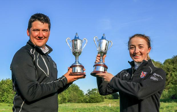 Opportunity: Colm Campbell and Jessica Ross, winners of the inaugural Ulster Stroke Play Championship at Galgorm Castle. Photo: Golffile/Thos Caffrey