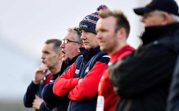 Cork manager Ronan McCarthy pictured in the middle of his backroom team. Photo: Ramsey Cardy/Sportsfile