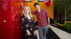 """Nicola Coughlan and Dylan Llewellyn pictured at the Yesterday, """"What If"""" show garden at this year's Bloom Festival at the Phoenix Park in Dublin inspired by upcoming comedy """"Yesterday"""" in cinemas June 28. Picture: Mark Condren"""