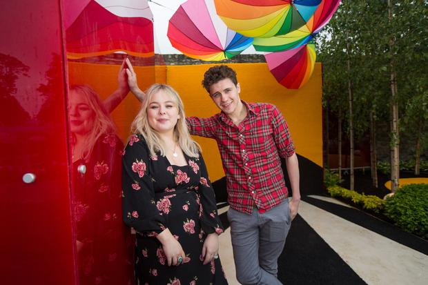 "Nicola Coughlan and Dylan Llewellyn pictured at the Yesterday, ""What If"" show garden at this year's Bloom Festival at the Phoenix Park in Dublin inspired by upcoming comedy ""Yesterday"" in cinemas June 28. Picture: Mark Condren"