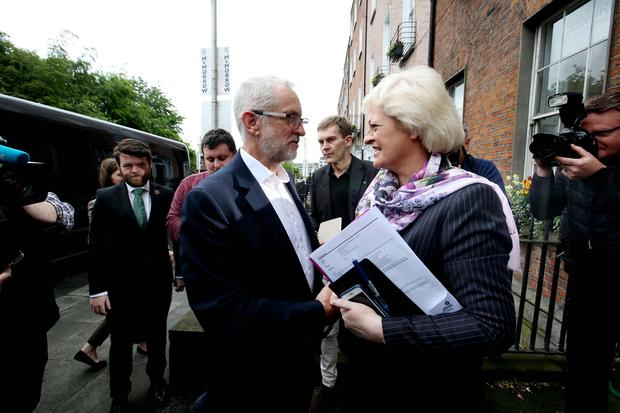 Meeting: British Labour leader Jeremy Corbyn is greeted by Patricia King, General Secretary of the Irish Congress of Trade Unions yesterday. Photo: Sam Boal