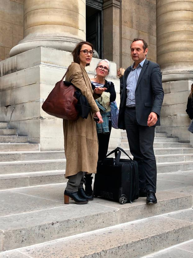 Trial: Lawyer Marie Dose with Sophie's best friend Agnes Thomas and her brother Bertrand Bouniol. Photo: PA