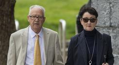 Ordeal: Patrick and Geraldine Kriegel, parents of murdered schoolgirl Ana Kriegel at court yesterday for the trial. Photo: Collins Courts