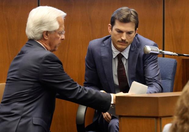 Defense Attorney Daniel Nardoni, left, questions Ashton Kutcher during his tesitimony in the murder trial of Michael Gargiulo at Los Angeles Superior Court, Wednesday, May 29, 2019. (Frederick M. Brown/Pool via AP)