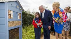 Georgina Bellamy Keane (7) from Glenageary shows President Michael D Higgins and his wife Sabina the beehive at the The Fingal Bee Positive Garden in collaboration with The Technological University Dublin (TU Dublin) Horticulture Department. Picture Andres Poveda