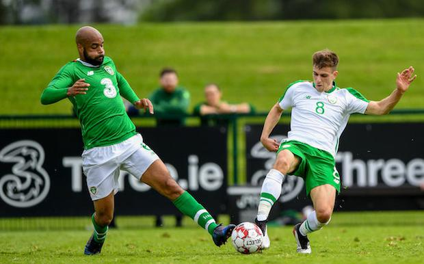 David McGoldrick of Republic of Ireland in action against Jayson Molumby of Republic of Ireland U21's during the Friendly match between Republic of Ireland and Republic of Ireland U21's at the FAI National Training Centre in Dublin. Photo by Harry Murphy/Sportsfile
