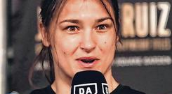 Pioneer: Katie Taylor talking to reporters in New York this week. Photo: Nick Potts/PA Wire