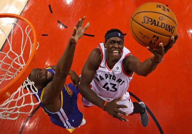 May 30, 2019; Toronto, Ontario, CAN; Toronto Raptors forward Pascal Siakam (43) shoots the ball against Golden State Warriors forward Draymond Green (23) in game one of the 2019 NBA Finals at Scotiabank Arena. Mandatory Credit: Gregory Shamus/Pool Photo via USA TODAY Sports
